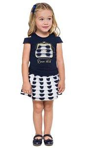 Conjunto Infantil Short Saia Organza Azul + Blusa Milon 11099
