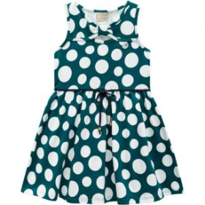 Vestido Infantil Poá Verde Milon 11740