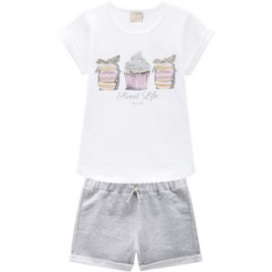 Conjunto Infantil Short Moletinho Mescla + Blusa Milon 11743