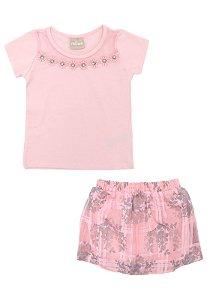 Conjunto Infantil Short Saia + Blusa Rosa Milon 11093