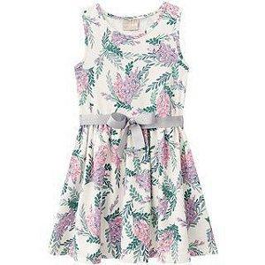Vestido Infantil Floral Off White Milon 11105