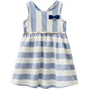 Vestido Infantil Azul com Cinto Milon 11088