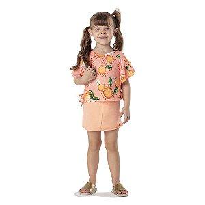 Conjunto Infantil Short Saia + Camiseta Mon Sucre 7292