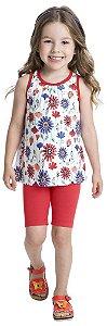 Conjunto Infantil Blusa Regata Branca + Short Cotton Kyly 109148
