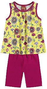 Conjunto Infantil Blusa Regata Amarela + Short Cotton Kyly 109148