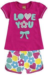 Conjunto Infantil Short + Camiseta Pink Kyly 109125
