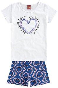 Conjunto Infantil Camiseta Branca + Short Kyly 109183