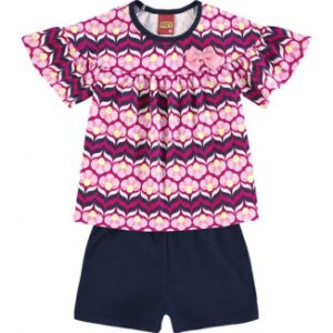 Conjunto Infantil Camiseta + Bermuda Azul Marinho Kyly 109346