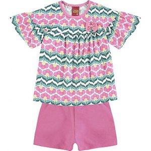 Conjunto Infantil Camiseta + Bermuda Rosa Kyly 109346