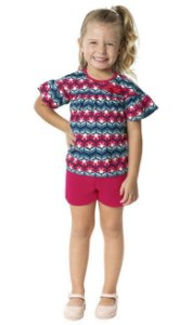 Conjunto Infantil Camiseta + Bermuda Pink Kyly 109346