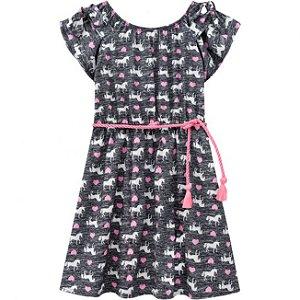 Vestido Infantil Cinza Unicórnio Kyly 109673