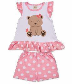 Pijama Infantil Short + Camiseta Ursinha Pingo Lelê 75046
