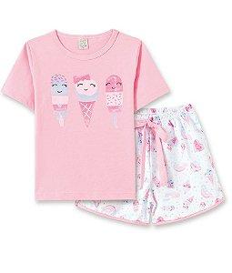 Pijama Infantil Short + Camiseta Sorvete Pingo Lelê 76062