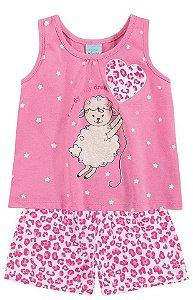 Pijama Infantil Meia Malha Brilha no Escuro Regata Kyly 108182
