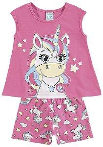 Pijama Infantil Unicórnio Rosa Brilha no Escuro 109270