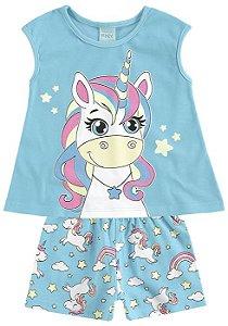 Pijama Infantil Unicórnio Azul Brilha no Escuro 109270