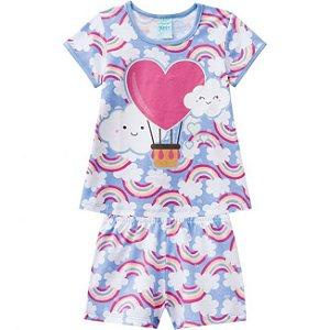 Pijama Infantil Camiseta + Short Brilha no Escuro Kyly 109779