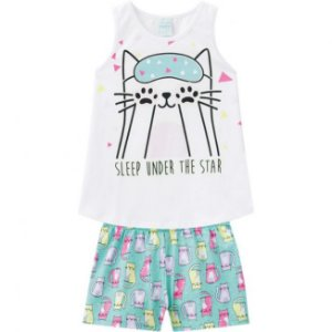 Pijama Infantil Camiseta + Short Brilha no Escuro Verde Kyly 109785