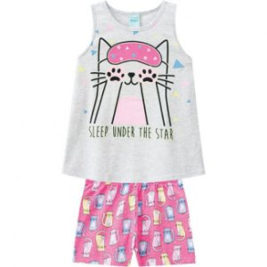 Pijama Infantil Camiseta + Short Brilha no Escuro Rosa Kyly 109785