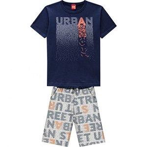 Conjunto Infantil Short Moletinho + Camiseta Azul Marinho Kyly  109768