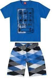 Conjunto Infantil Camiseta Azul + Bermuda Tactel Kyly 108754