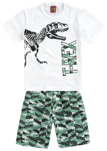 Conjunto Infantil Camiseta Dinossauro + Short Tactel Kyly 109235