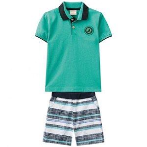 Conjunto Infantil Blusa Gola Polo Verde  + Bermuda Sarja Milon 11173