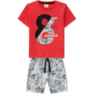 Conjunto Infantil Masculino Short Moletinho + Camiseta Vermelha Milon 11787