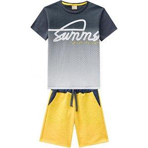 Conjunto Infantil Bermuda Moletinho Amarela + Camiseta  Milon 11813