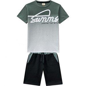 Conjunto Infantil Bermuda Moletinho + Camiseta Verde Milon 11813