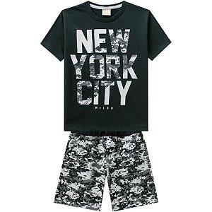 Conjunto Infantil Camiseta + Bermuda Moletinho Milon 11816