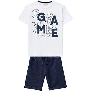 Conjunto Infantil Camiseta Branca + Bermuda Moletinho Milon 11818