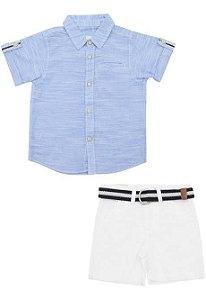 Conjunto Infantil Masculino Camisa Azul e Bermuda em Sarja com Cinto Milon 11223