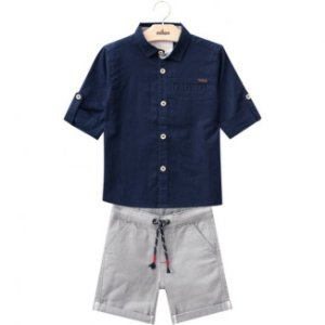 Conjunto Bermuda Sarja + Camisa Tricoline Azul Milon 11807