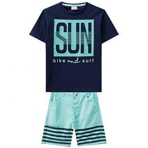 Conjunto Camiseta Azul  + Bermuda Sarja Milon 11220