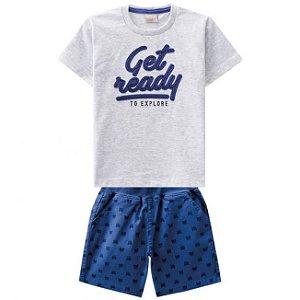 Conjunto Camiseta + Bermuda Sarja Azul Milon 11305