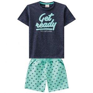 Conjunto Camiseta + Bermuda Sarja Verde Milon 11305