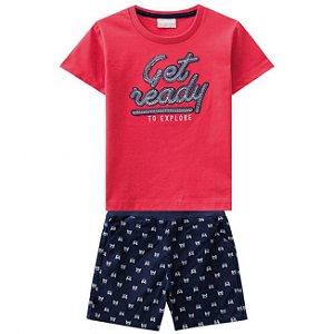 Conjunto Camiseta Vermelha + Bermuda Sarja  Milon 11305