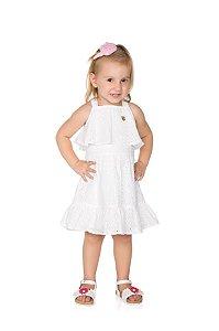 Vestido Infantil de Laise Branco Pega Mania 54112