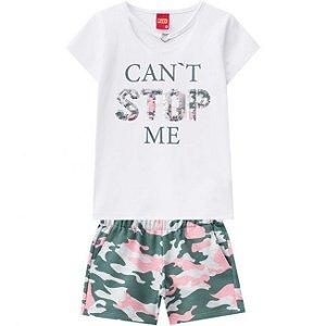 Conjunto Infantil Feminino Blusa + Short Kyly Branco 109687