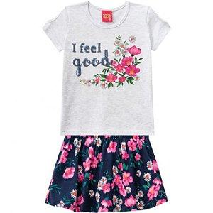 Conjunto Infantil Blusa Mescla + Short Saia Floral Kyly 109652