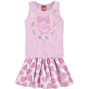 Conjunto Infantil Regata Rosa + Short Saia Kyly 109323