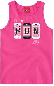 Regata Infantil Estampa Fun Rosa Kyly 108866