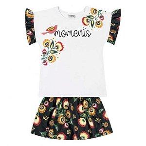 Conjunto Infantil Blusa Branca + Short Saia Nanai 600264