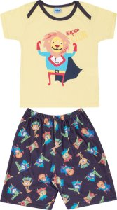 Pijama Infantil Short + Camiseta Amarela Serelepe 5135