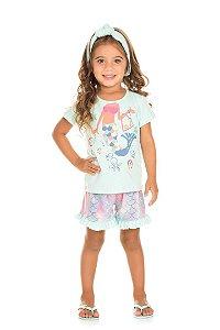 Pijama Infantil Camiseta Sereia + Short Serelepe 5127