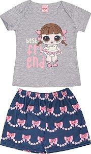 Pijama Infantil Feminino Camiseta Mescla + Short  Serelepe 5128