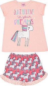 Pijama Infantil Camiseta Uncornio Rosa + Short Serelepe 5130