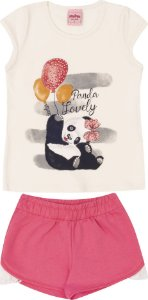 Conjunto Infantil Camiseta Off Panda + Short Moletinho Serelepe 5553