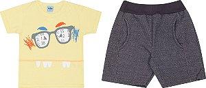 Conjunto Infantil Masculino Camiseta Amarela + Bermuda Moletinho Serelepe 5072